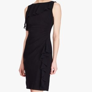 American Living Ruffled Sheath Jersey Dress Black